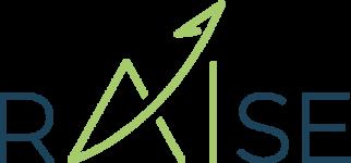 logo rAIse de couleur bleu avec AI de couleur verte dont le trait du A fini par une flèche évoquant une ascension tout en signant le point du I
