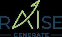 logo rAIse de couleur bleu avec AI de couleur verte dont le trait du A fini par une flèche évoquant une ascension tout en signant le point du I avec GENERATE en signature bleue