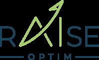logo rAIse de couleur bleu avec AI de couleur verte dont le trait du A fini par une flèche évoquant une ascension tout en signant le point du I avec OPTIM en signature bleue