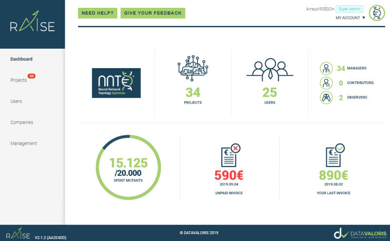 Raise from datavaloris page dashboard