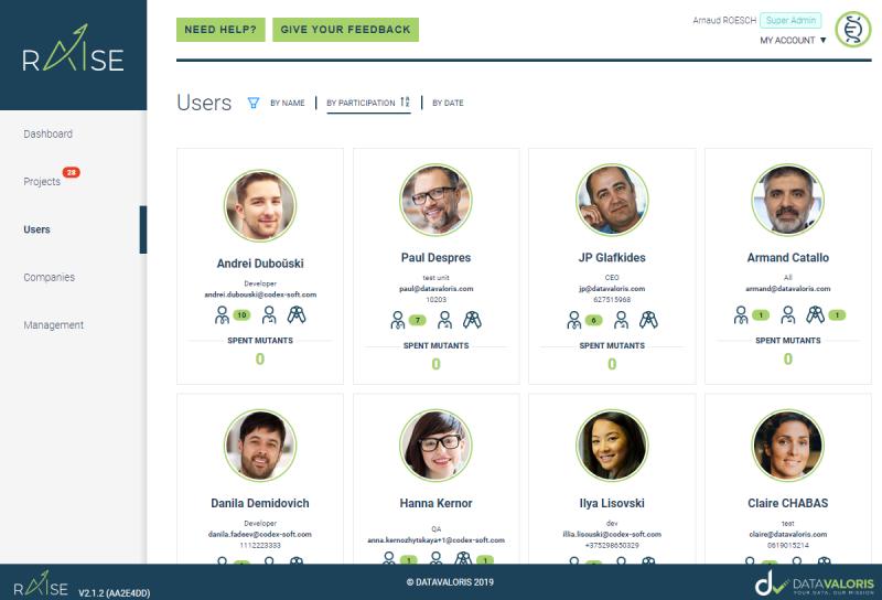 Raise from datavaloris page users